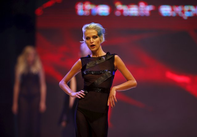 A model presents a creation by Maltese hairstylist Lara Steer of D Salon at the Malta Fashion Awards 2015 at the Marsa Shipbuilding warehouse in Marsa, outside Valletta in Malta, May 16, 2015. (Photo by Darrin Zammit Lupi/Reuters)
