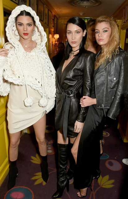 (L-R) Kendall Jenner, Bella Hadid and Stella Maxwell at the LOVE and Burberry party celebrating Katie Grand and Kendall Jenner's #LOVEME17 in London, UK on February 20, 2017. (Photo by Dave Benett/Getty Images vor LOVE Magazine)