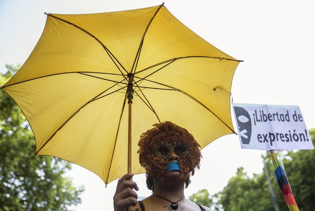 """A woman, with her mouth taped, wears a mask during a protest against Spanish government's new security law in central Madrid, Spain, June 30, 2015. Spanish government's new security law, which toughens fines for unauthorised street protests, comes into effect July 1. Critics consider it a violation of the right to protest and a limit to free expression and have labelled it """"Ley Mordaza"""" (Gag Law). The banner reads: """"Freedom of expression"""". (Photo by Sergio Perez/Reuters)"""