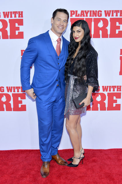 """John Cena and Shay Shariatzadeh attend the Paramount Pictures' """"Playing with Fire"""" US Premiere at AMC Lincoln Square Theater on October 26, 2019 in New York, New York. (Photo by Roy Rochlin/Getty Images for Paramount Pictures)"""
