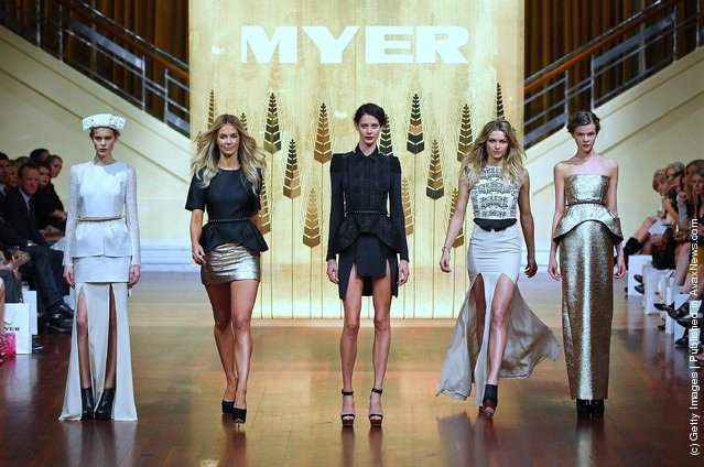 Models Jennifer Hawkins (2nd L) and Jessica Hart (2nd R) showcase designs by Ellery on the catwalk at the Myer A/W 2012 Collection Launch