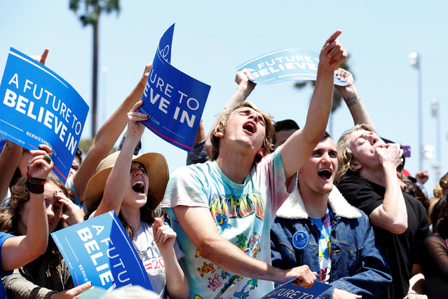 Supporters of U.S. Democratic presidential candidate Bernie Sanders cheer at a campaign event in Ventura, California, U.S. May 26, 2016. (Photo by Jonathan Alcorn/Reuters)