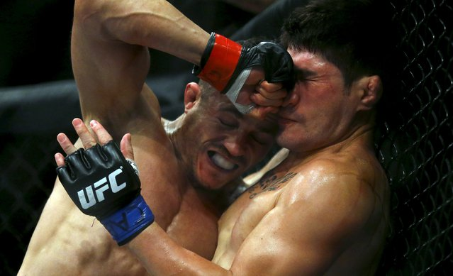 Reginaldo Vieira (L) of Brazil fights with Dileno Lopes of Brazil during their Ultimate Fighting Championship (UFC) match, a professional mixed martial arts (MMA) competition in Rio de Janeiro, Brazil August 1, 2015. (Photo by Ricardo Moraes/Reuters)