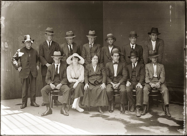 This negative was found wrapped in a paper sleeve on which is written: 'Group of criminals, Central 1921'