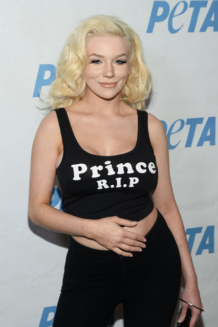 TV personality Courtney Stodden attends the LA launch party for Prince's PETA Song at PETA on June 7, 2016 in Los Angeles, California. (Photo by Matt Winkelmeyer/Getty Images)