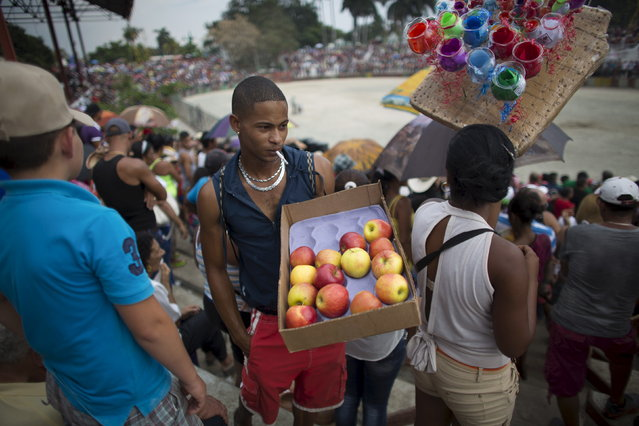 A man sells apples to the public during the 18th edition of the International Livestock Fair Show in Havana. Around 200 thousand people attend the fair, according to its organisers, March 22, 2015. (Photo by Alexandre Meneghini/Reuters)