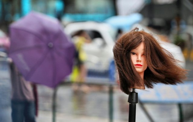 A hairdressing mannequin is seen outside a hair salon amid as Typhoon Matmo hits Nantong, Jiangsu province July 25, 2014. Matmo, which made landfall in Fujian Province on Wednesday, has brought strong winds and heavy downpours to more areas in China after it moved northward on Thursday, Xinhua News Agency reported. (Photo by Reuters/Stringer)