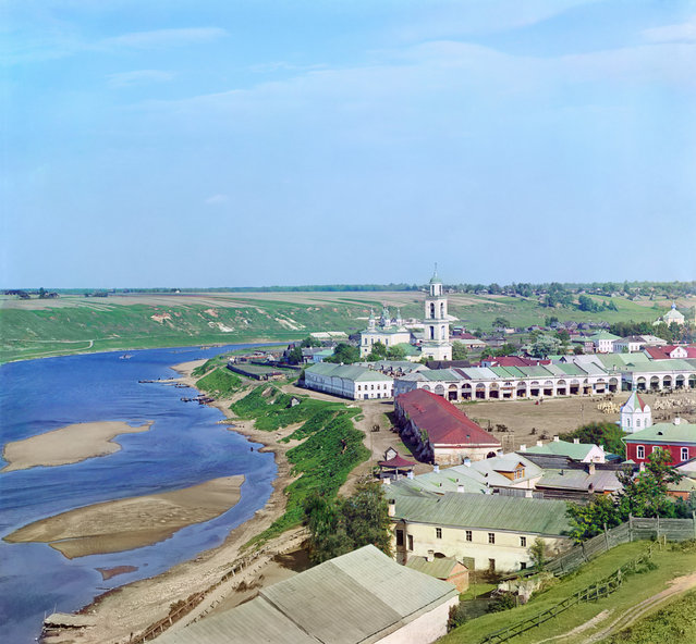 Photos by Sergey Prokudin-Gorsky. Staritsa. View from the Cathedral of Sts. Boris and Gleb. Russia, Tver province, Staritsa uyezd (district), Staritsa town, 1910