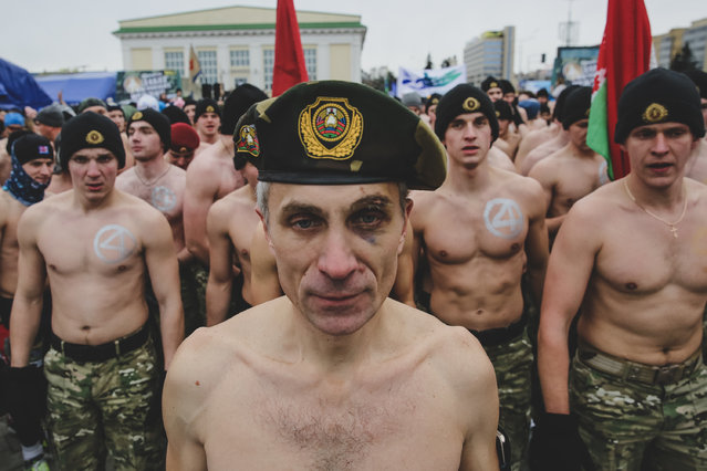 "A participant before the start of of the ""Real Men Race"" in Minsk. About 3,000 men took part in the men-only event on Belarus's Defender of the Fatherland Day on February 23, 2019. (Photo by Uladz Hrydzin/Radio Free Europe/Radio Liberty)"