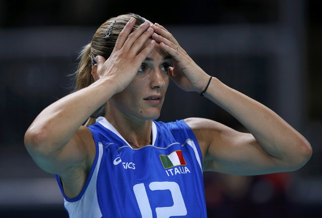 Italy's Francesca Piccinini reacts after losing their women's quarterfinal volleyball match against South Korea at Earls Court during the London 2012 Olympic Games August 7, 2012. (Photo by Ivan Alvarado/Reuters)