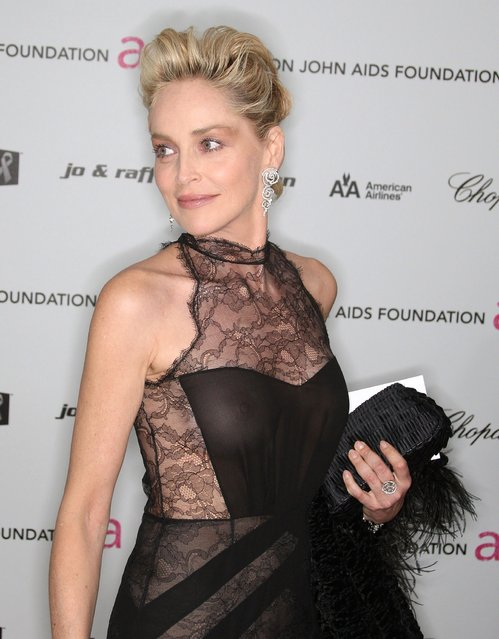 Actress Sharon Stone arrives at the 17th Annual Elton John AIDS Foundation's Academy Award Viewing Party held at the Pacific Design Center on February 22, 2009 in Hollywood, California. (Photo by Frederick M. Brown)