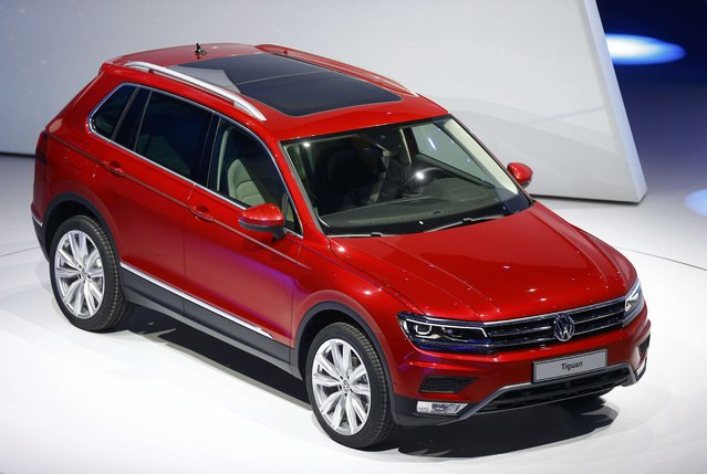 Volkswagen Tiguan car is presented during the Volkswagen group night ahead of the Frankfurt Motor Show (IAA) in Frankfurt, Germany, September 14, 2015. (Photo by Kai Pfaffenbach/Reuters)