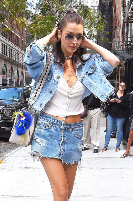 Bella Hadid steps out in an all denim outfit during New York Fashion Week. New York City, New York on Monday, September 12, 2016. (Photo by TS/Pacific Coast News)