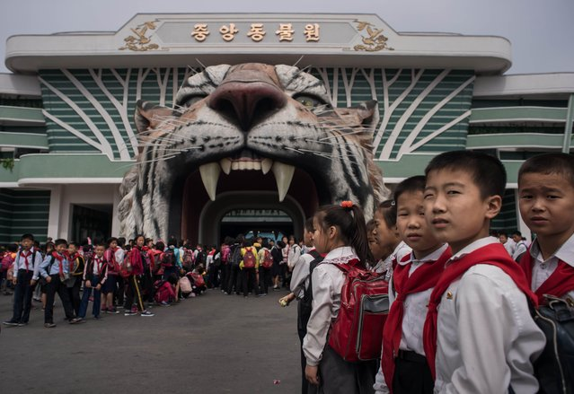 Visitors wait to enter the Museum of Natural History in Pyongyang on September 28, 2016. (Photo by Ed Jones/AFP Photo)