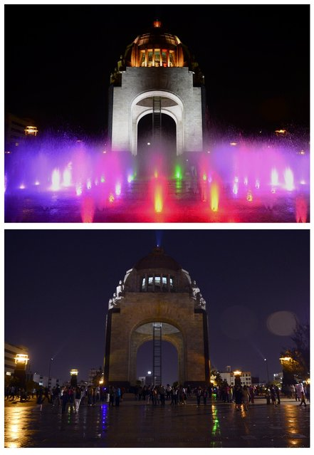 """In this combo photo shows the Monumento a la Revolucion with color lights on (top) and lights were turned off (bottom) to mark """"Earth Hour"""" in Republica Square in Mexico City on March 23, 2013.  Millions of people were expected to switch off their lights for Earth Hour in a global effort to raise awareness about climate change. (Photo by Alfredo Estrella/AFP Photo)"""