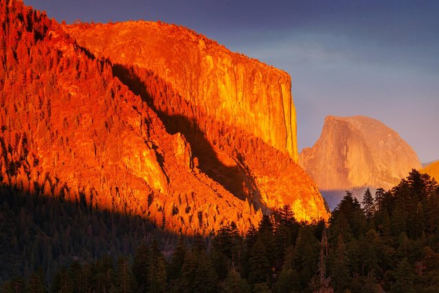 Sunset on North Dome, Yosemite National Park. (Photo by Nolan Nitschke/Caters News)