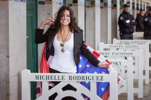 Michelle Rodriguez attends the naming ceremony of her dedicated beach cabana during the 43rd Deauville American Film Festival on September 8, 2017 in Deauville, France. (Photo by Francois G. Durand/Getty Images)