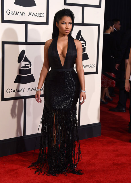 Nicki Minaj arrives at the 57th annual Grammy Awards at the Staples Center on Sunday, February 8, 2015, in Los Angeles. (Photo by Jordan Strauss/Invision/AP Photo)