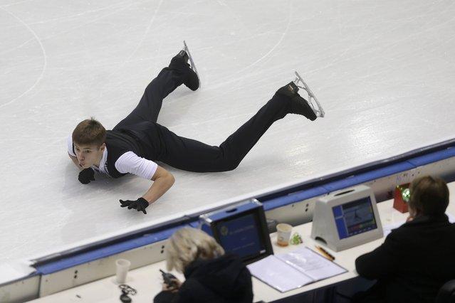 Deniss Vasiljevs of Latvia performs during the men's short program at the ISU European Figure Skating Championship in Bratislava, Slovakia, January 27, 2016. (Photo by David W. Cerny/Reuters)