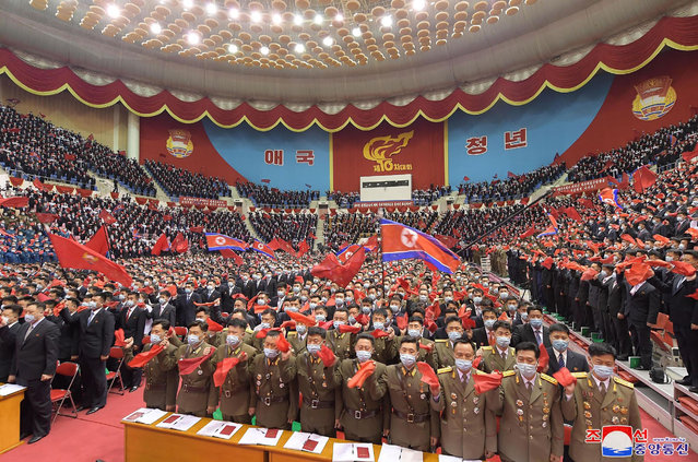 This picture taken on April 29, 2021 and released from North Korea's official Korean Central News Agency (KCNA) on April 30 shows the 10th Congress of the Kimilsungist-Kimjongilist Youth League in Pyongyang. (Photo by KCNA via KNS/AFP Photo)