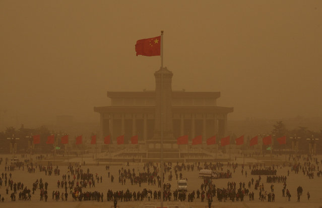 Tiananmen Square is seen amid a sandstorm in Beijing, China March 20, 2010. (Photo by Grace Liang/Reuters)
