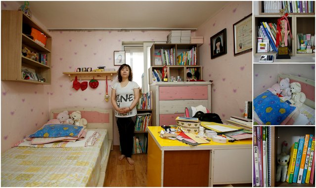 "A combination picture shows Lee Sun-mi, mother of Kim Ju-hee, a high school student who died in the Sewol ferry disaster, as she poses for a photograph in her daughter's room, as well as details of objects, in Ansan April 8, 2015. Lee said: ""A thorough investigation has to be conducted. Spring has come and flowers are blossoming, but moms cannot smile. I hope the children who are still missing will be found ... I wish I could bring back my daughter. The world after the tragedy is not the place that I had known"". (Photo by Kim Hong-Ji/Reuters)"