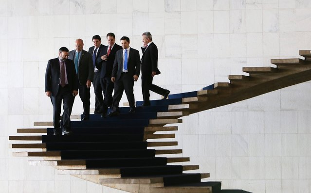 Venezuelan congressmen leave the Itamaraty Palace after a meeting with Brazilian Foreign Minister Mauro Vieira in Brasilia, Brazil, February 25, 2106. (Photo by Adriano Machado/Reuters)