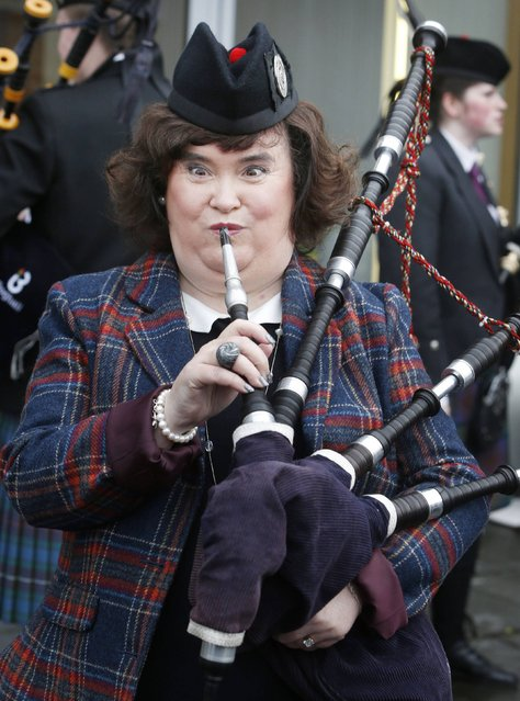 Susan Boyle is unveiled as chieftain of the pipe band event at the Bathgate Partnership Centre in Scotland, on January 15, 2014. The singer will take up the post at the British Pipe Band Championship 2014. (Photo by Danny Lawson/PA Wire)
