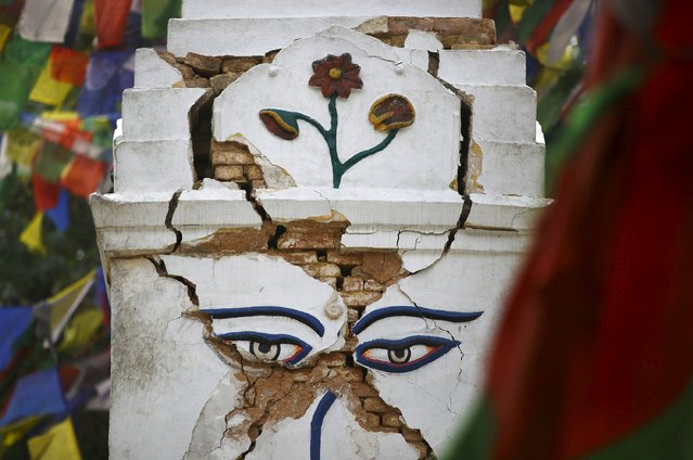 Cracks are seen on one of the shrines at Swoyambhunath Stupa, a UNESCO world heritage site, after Saturday's earthquake in Kathmandu, Nepal April 28, 2015. (Photo by Navesh Chitrakar/Reuters)