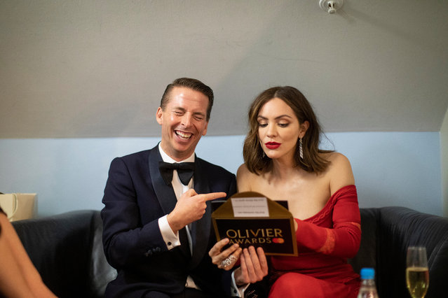 Jack McBrayer and Katharine McPhee attend The Olivier Awards 2019 with Mastercard at The Royal Albert Hall on April 7, 2019 in London, England. (Photo by David Levene/The Guardian)