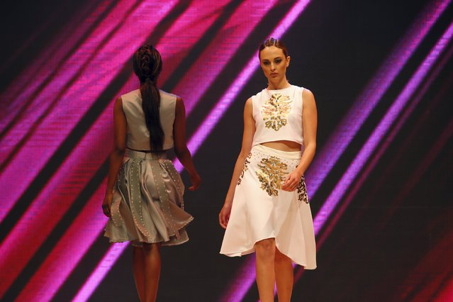 Models present creations by designer Penelope Demetrious of Cyprus at the Malta Fashion Awards 2015 at the Marsa Shipbuilding warehouse in Marsa, outside Valletta in Malta, May 16, 2015. (Photo by Darrin Zammit Lupi/Reuters)
