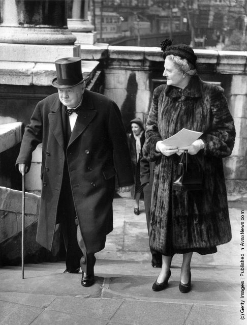 1950: Winston Churchill British Statesman and Prime Minister and Mrs Churchill arriving to unveil the Keyes Memorial