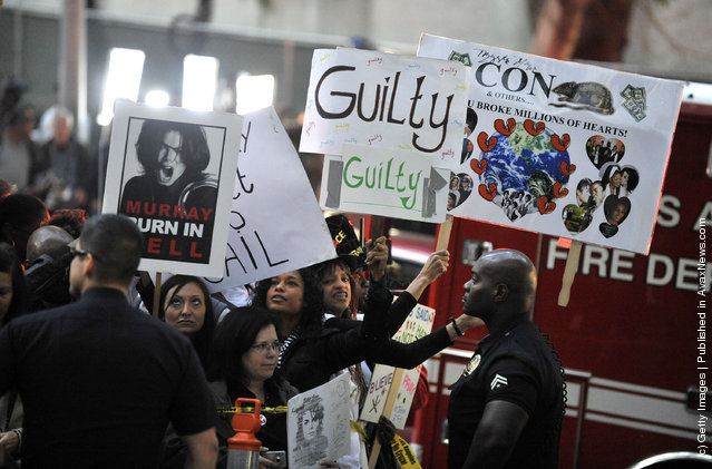 Crowd reaction outside the court for the Dr Conrad Murray trial verdict