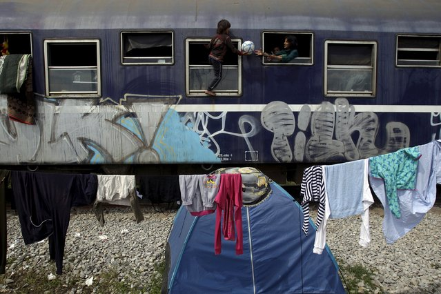 Children play inside a train wagon next to a makeshift camp for migrants and refugees at the Greek-Macedonian border near the village of Idomeni, Greece, April 24, 2016. (Photo by Alexandros Avramidis/Reuters)