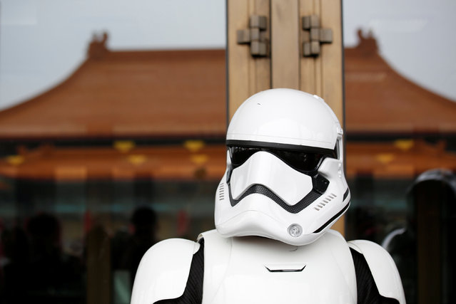 A man dressed as a Storm Trooper from Star Wars reacts during Star Wars Day in Taipei, Taiwan, May 4, 2016. (Photo by Tyrone Siu/Reuters)