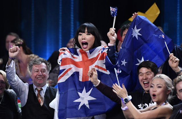 Australia's Dami Im celebrates as she learns the results during the Eurovision Song Contest final in Stockholm, Sweden, Saturday, May 14, 2016. (AP Photo/Martin Meissner)