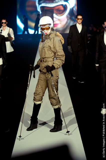 A model walks down the runway during the Safilo fashion show at the Mercedes-Benz Fashion Pavilion