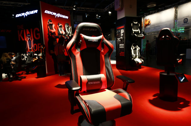 A DXR Acer seat is seen during the Gamescom 2015 fair in Cologne, Germany August 5, 2015. (Photo by Kai Pfaffenbach/Reuters)