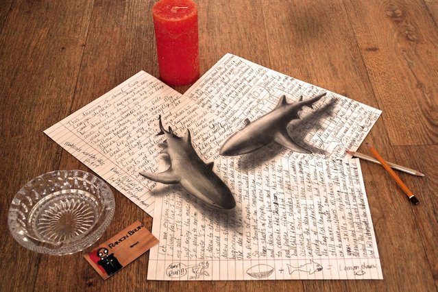Ramon Bruin's 3D illustration of two sharks swimming across a pile of paper. (Photo by Ramon Bruin/Medavia)