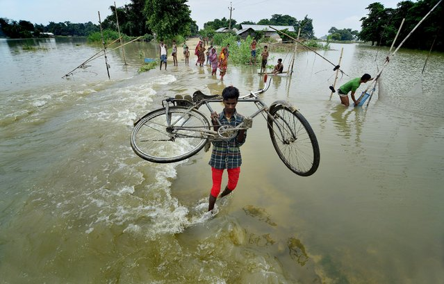 Picture made available on 18 August 2014 showing a boy carrying his bicycle through floodwater in the Morigaon district of Assam state, India, 17 August 2014. Dozens of people were killed and more than a million affected as floods driven by torrential monsoon rains ravaged India's northern and eastern states as the monsoon season in India usually lasts from June until September and exacts a heavy toll, both in terms of human lives and destruction of agricultural crops and property. (Photo by EPA/STR)