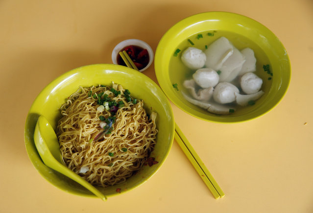 A $2.20 bowl of fishball noodles is seen at Thye Hong Handmade Fishball Noodle stall at Ghim Moh food center in Singapore August 12, 2016. (Photo by Edgar Su/Reuters)