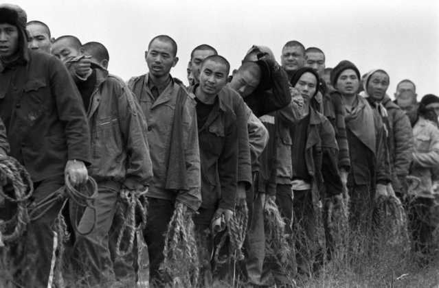 Chinese prisoners return to their compounds at Jiangbei Prison in the central province of Hubei after working in the fields and collecting cotton branches for firewood in 1998. (Photo by Reuters/Stringer)