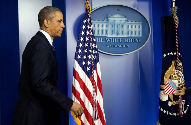 President Obama arrives in the James Brady Press Briefing Room at the White House to speak about the bombings. (Photo by Manuel Balce Ceneta/Associated Press)