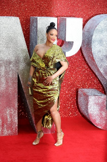 "Cast member Rihanna poses for pictures on the red carpet for the European premiere of ""Ocean's 8"" in London, Britain June 13, 2018. (Photo by Simon Dawson/Reuters)"