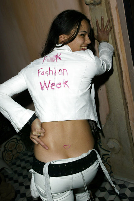 Michelle Rodriguez during Mercedes-Benz Shows LA Fashion Week Spring 2004 – Jenni Kayne After Party at The Standard in Los Angeles, California, United States. (Photo by J. Vespa/WireImage)