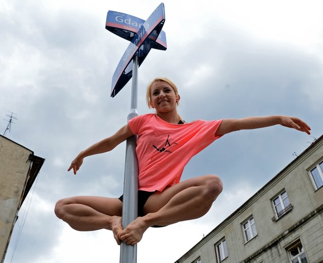 "A member of the ""Avocadoo"" club performs a pool dance on a street sign pole in Lodz, central Poland on June 27, 2013. The event promotes new way of gymnastics in Poland. (Photo by Janek Skarzynski/AFP Photo)"