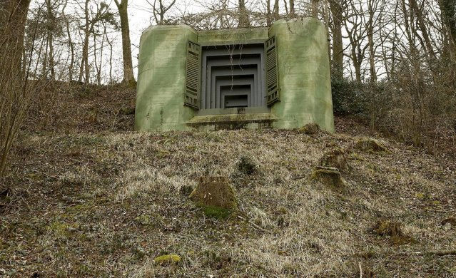A bunker at aformer Swiss artillery fortress called Heldsberg stands near the town of St. Margareten, Switzerland March 22, 2015. Heldsberg fortress, located on the Swiss-Austrian border near the River Rhine and Lake Constance was built from 1938 to 1940 and remained in military use until 1992. Since 1993 it is open to the public as Fortress Museum Heldsberg. (Photo by Arnd Wiegmann/Reuters)