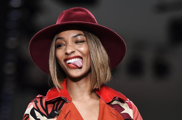 British model Jourdan Dunn presents a creation during the Fashion for Relief charity catwalk show ahead of London Fashion Week in London February 19, 2015. (Photo by Toby Melville/Reuters)