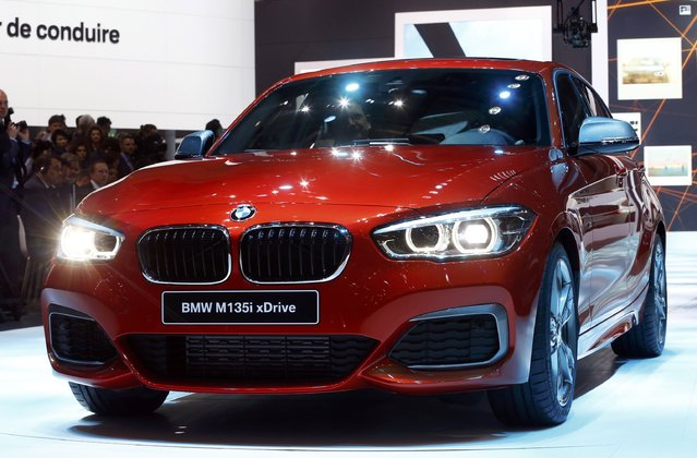 A BMW M135i xDrive is seen during the first press day ahead of the 85th International Motor Show in Geneva March 3, 2015.  REUTERS/Arnd Wiegmann