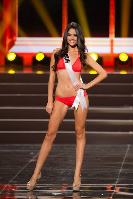 This photo provided by the Miss Universe Organization shows Patricia Yurena Rodriguez, Miss Spain 2013, competes in the swimsuit competition during the Preliminary Competition at Crocus City Hall, Moscow, on November 5, 2013. (Photo by Darren Decker/AFP Photo)
